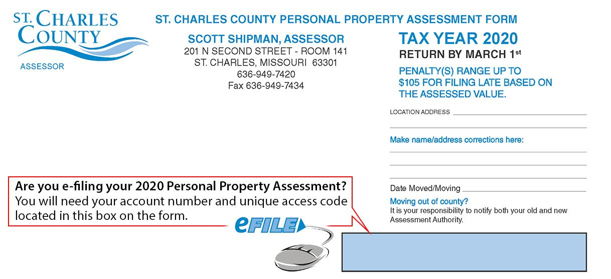 Top of 2020 Personal Property Assessment Form