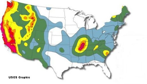U.S. Geological Survey map of earthquake hazard, with high-risk areas indicated in red.