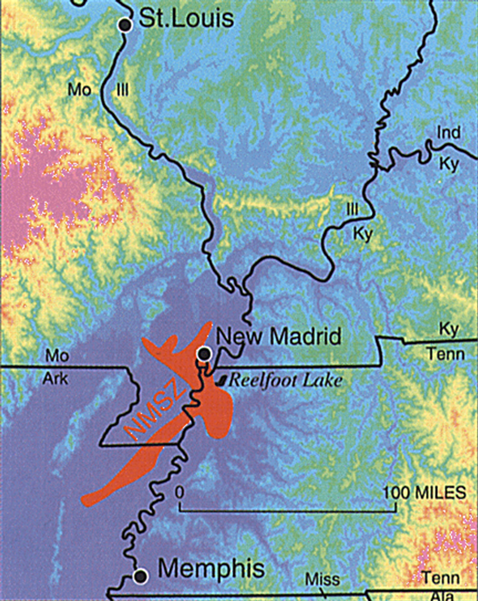 New Madrid Seismic Zone map; Courtesy of the U.S. Geological Survey